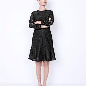 J Crew Long Sleeve Black Lace Cocktail Dress Sz 0